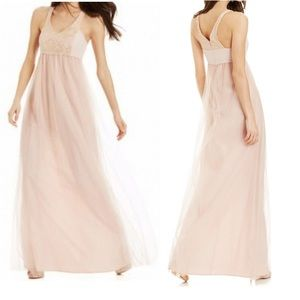 BCBG Blush Gold Lace Empire Waist Tulle Gown